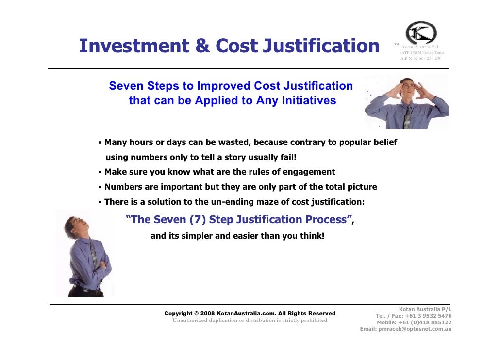 Investment & Cost Justification                                                                  ™                        ...