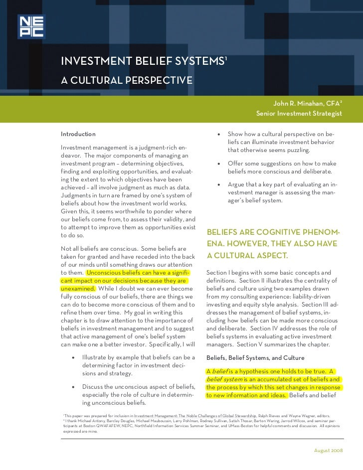 INVESTMENT BELIEF SYSTEMS1A CULTURAL PERSPECTIVE                                                                          ...