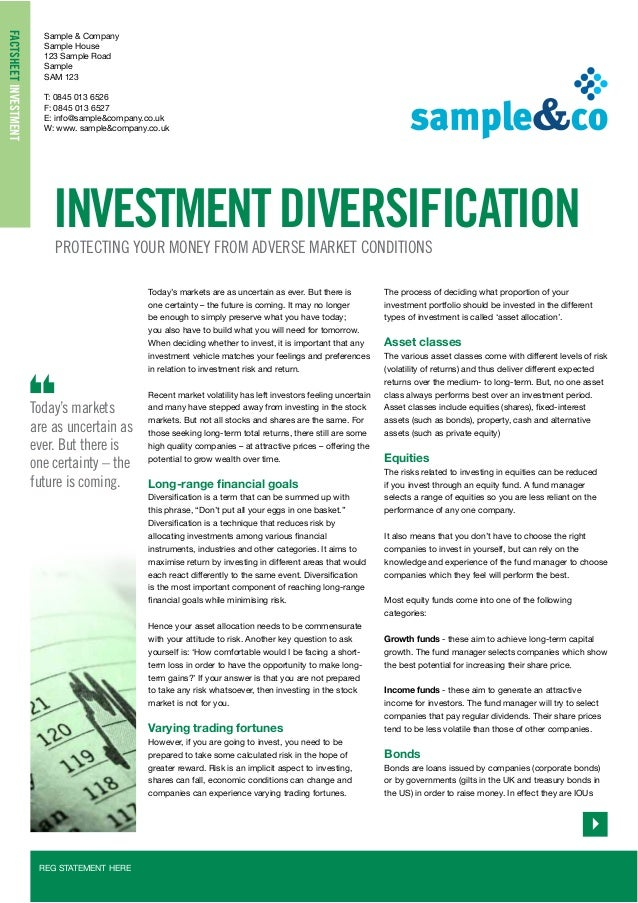 Investment diversification a  2013/14