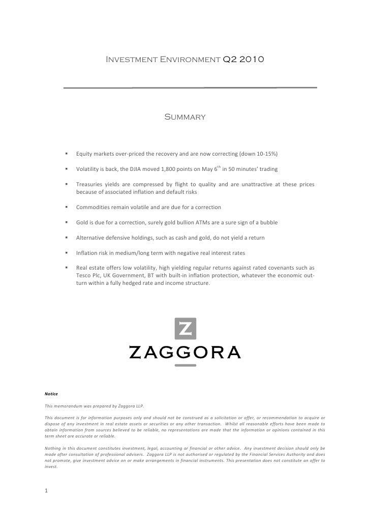 Investment Environment Q2 2010                                                                        Summary         ...