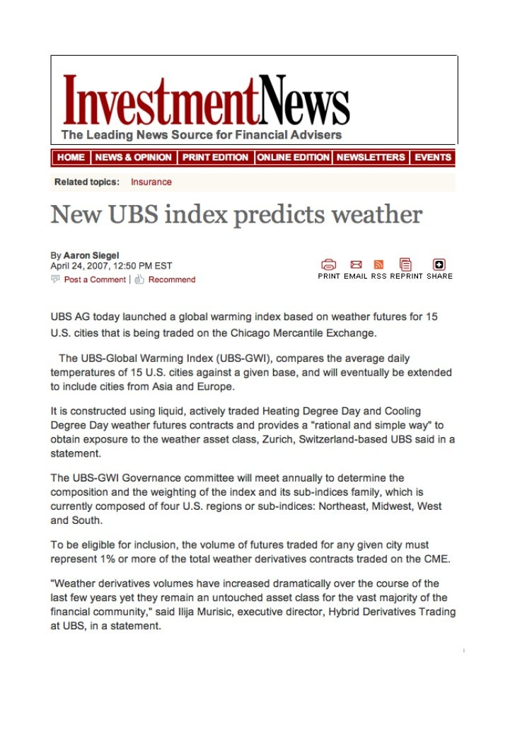 Investment News - April 2007 - UBS Global Warming Index index - ilija murisic