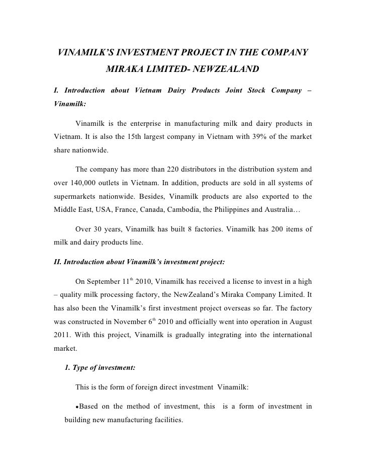 VINAMILK'S INVESTMENT PROJECT IN THE COMPANY                MIRAKA LIMITED- NEWZEALANDI. Introduction about Vietnam Dairy ...