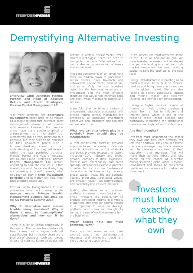 Demystifying Alternative Investing - Interview: Jonathan Mandle, Corrum Capital Management LLC, Private Wealth Management Summit 2014