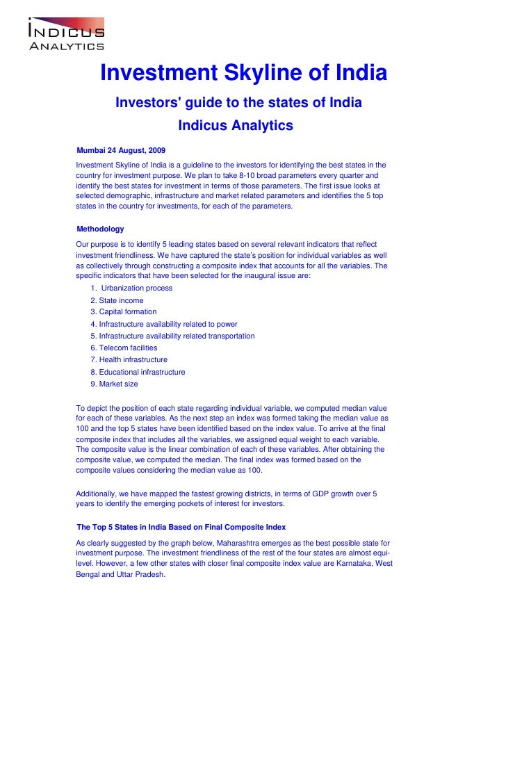 Investment Skyline of India             Investors' guide to the states of India                                 Indicus An...