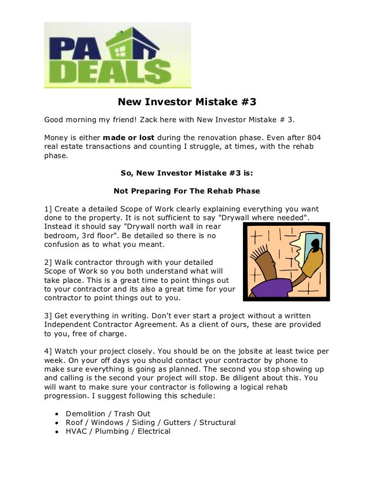 New Investor Mistake #3Good morning my friend! Zack here with New Investor Mistake # 3.Money is either made or lost during...