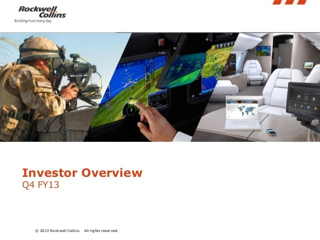 Insert pictures into these angled boxes. Height should be 3.44 inches.  Investor Overview Q4 FY13  © 2013 Rockwell Collins...