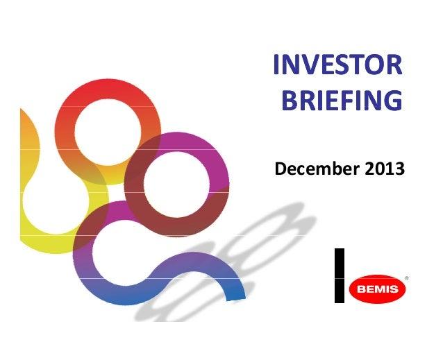 BMS - Investor Briefing December 2013