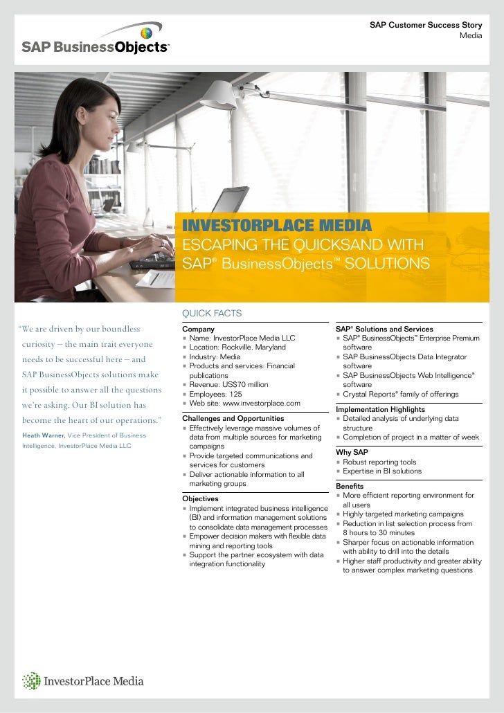 Investor Place Media Business Objects Case Study