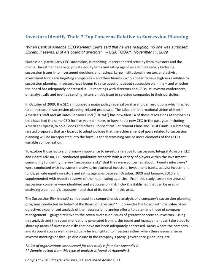 Investor Succession Research