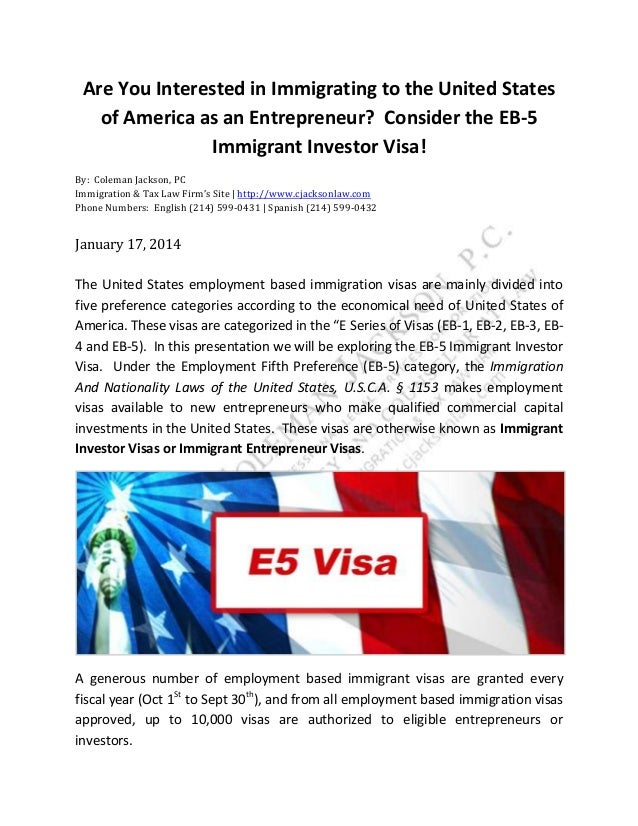 Are You Interested in Immigrating to the United States of America as an Entrepreneur? Consider the EB-5 Immigrant Investor...