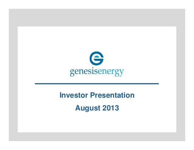 Investor Presentation August 2013