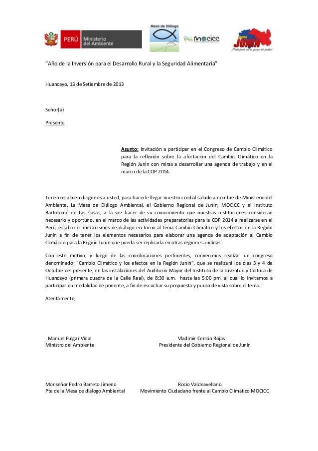 """""""Año de la Inversión para el Desarrollo Rural y la Seguridad Alimentaria"""" Huancayo, 13 de Setiembre de 2013 Señor(a) Prese..."""
