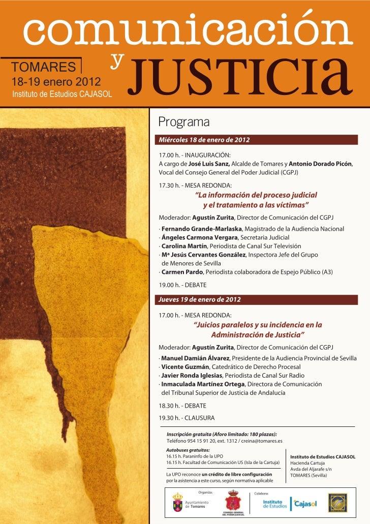 Invitacion  Jornadas sobre comunicacion y justicia