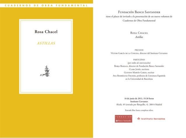 """Invitación Fundación Banco Santander """"Astillas"""" de Rosa Chacel"""