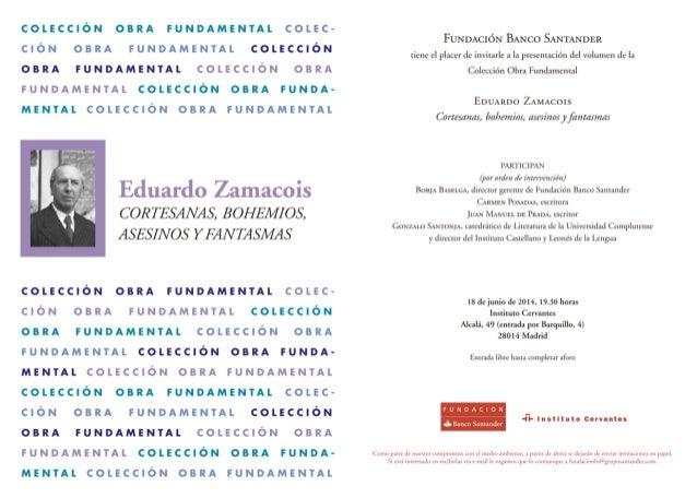 Invitación a la presentación de 'Cortesanas, bohemios, asesinos y fantasmas' de Eduardo Zamacois