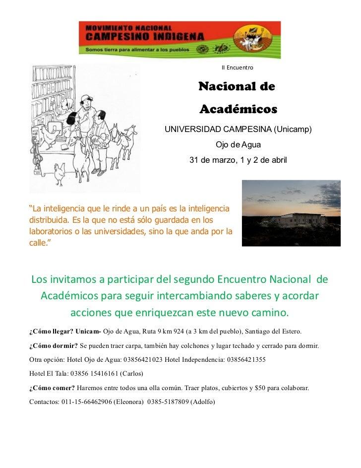 II Encuentro                                                        Nacional de                                           ...
