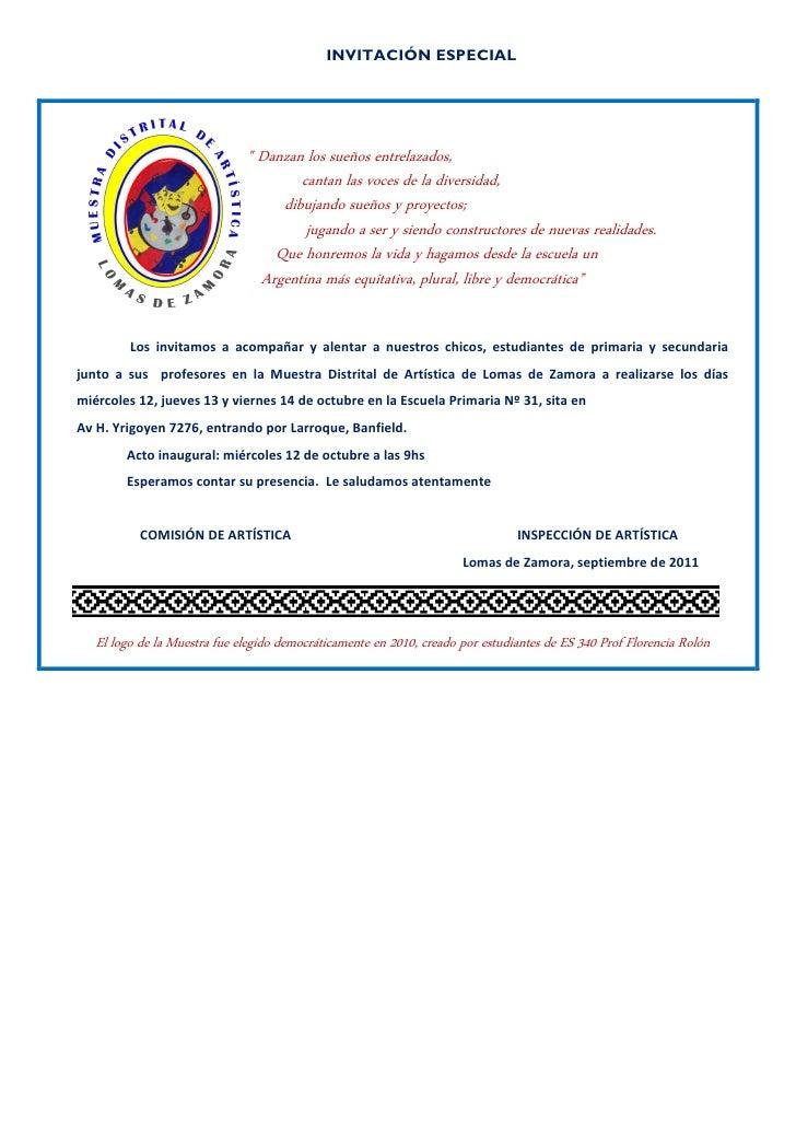 Invitación especial muestra distrital artistica 2011