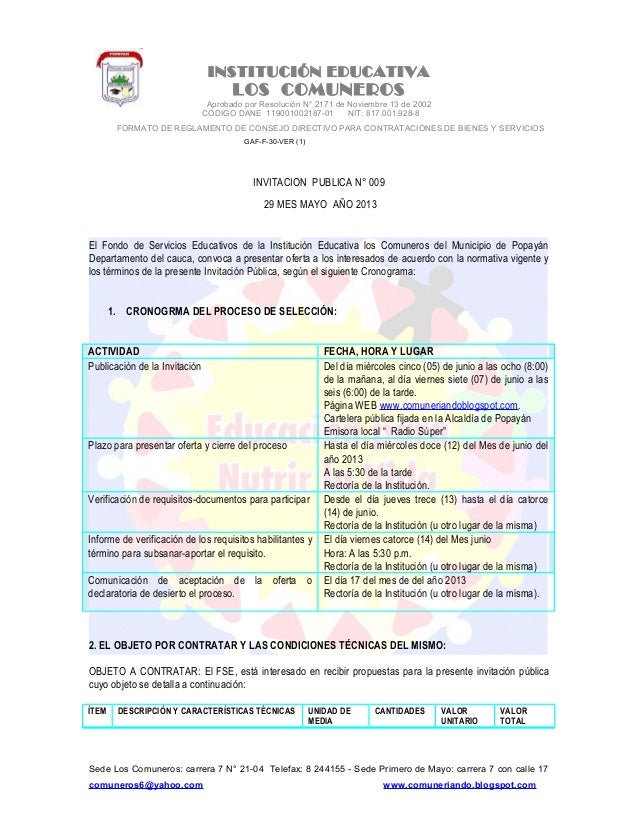 INSTITUCIÓN EDUCATIVALOS COMUNEROSAprobado por Resolución N° 2171 de Noviembre 13 de 2002CODIGO DANE 119001002187-01 NIT: ...