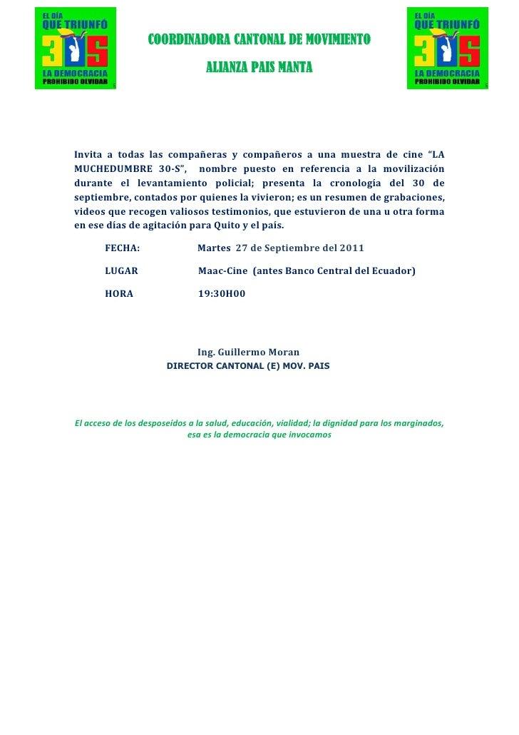 COORDINADORA CANTONAL DE MOVIMIENTO                                     ALIANZA PAIS MANTAInvita a todas las compañe...