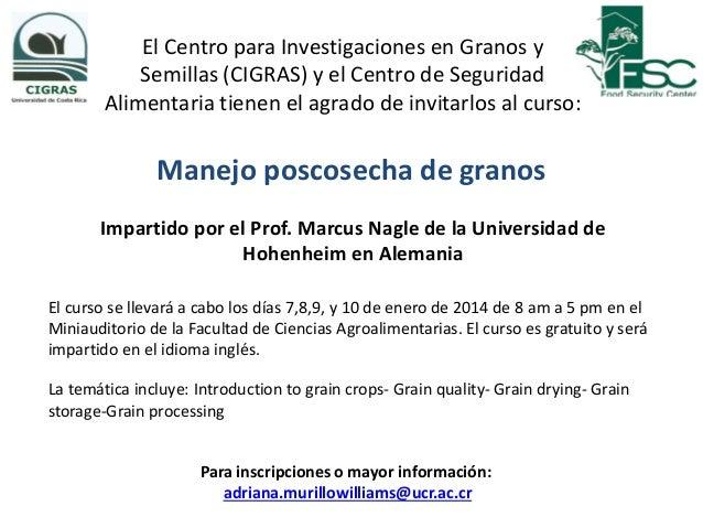 Invitacion a curso poscosecha de granos
