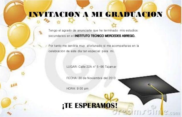 Invitacion Para Fiesta De Graduacion