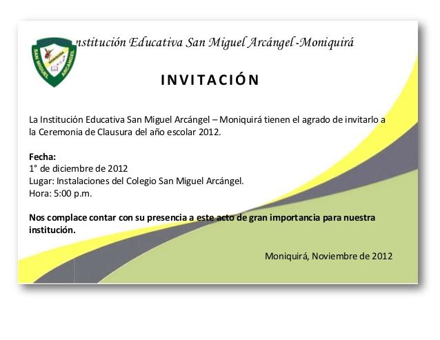 Formato De Invitaciones