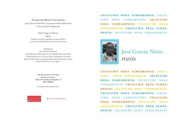 Invitación a la presentación del libro de poemas de José García Nieto.