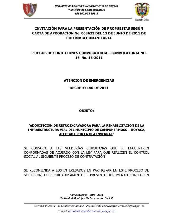 Invitacion pliegos retro conv 16-2011