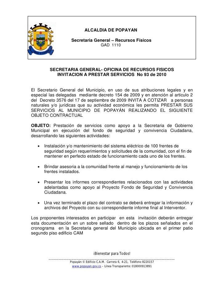 ALCALDIA DE POPAYAN                        Secretaria General – Recursos Físicos                                         G...