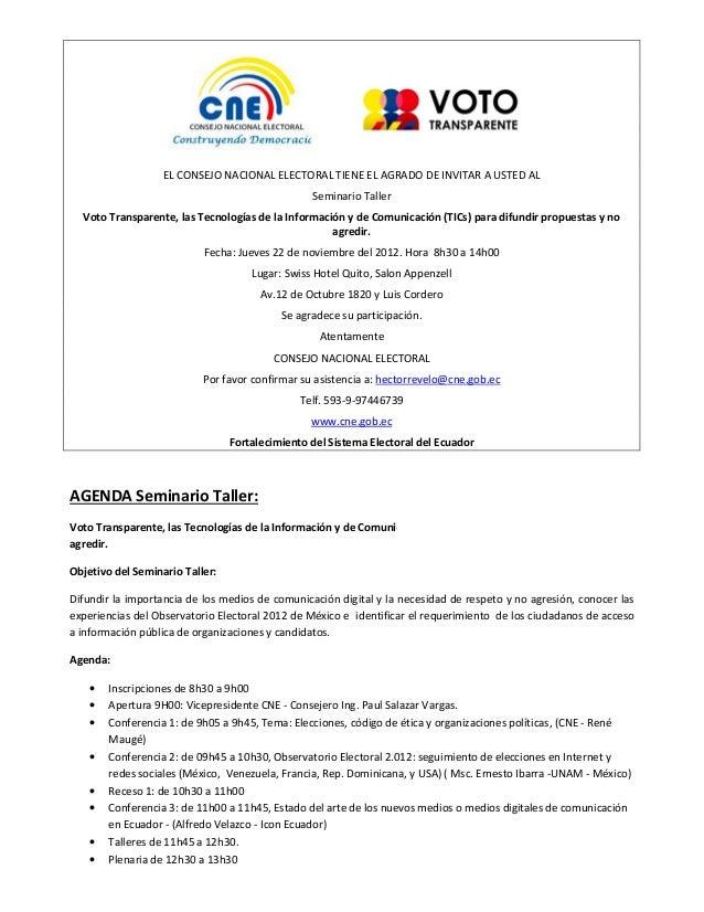 EL CONSEJO NACIONAL ELECTORAL TIENE EL AGRADO DE INVITAR A USTED AL                                                 Semina...