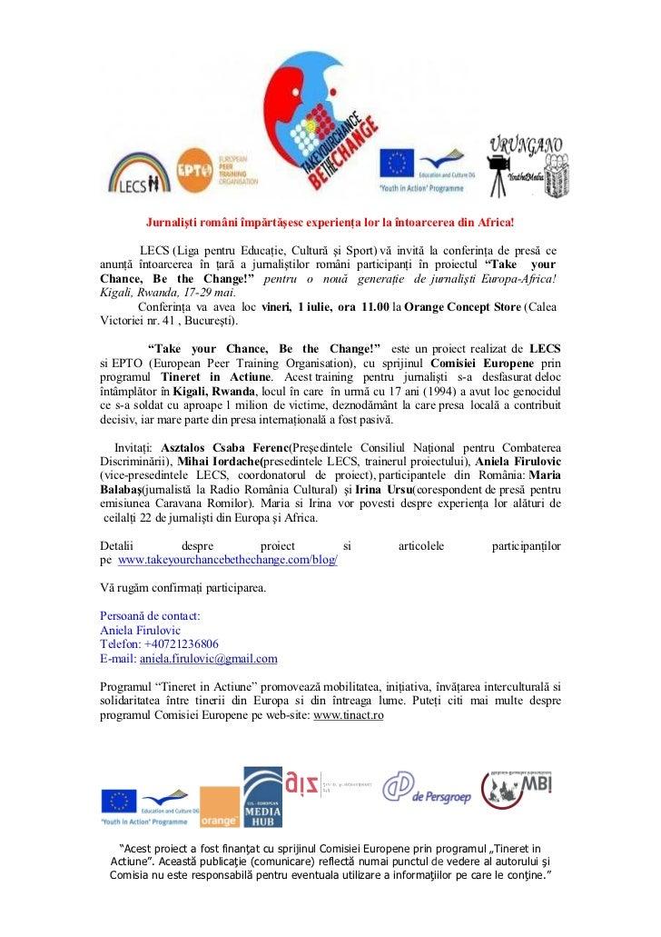 Jurnalişti români împărtăşesc experienţa lor la întoarcerea din Africa!        LECS (Liga pentru Educaţie, Cultură şi Spor...