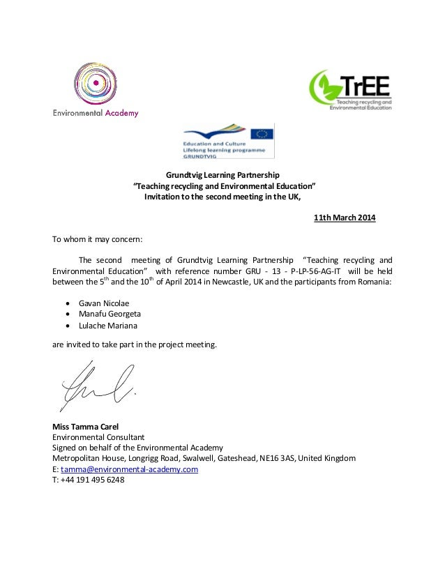 """Grundtvig Learning Partnership """"Teaching recycling and Environmental Education"""" Invitation to the second meeting in the UK..."""