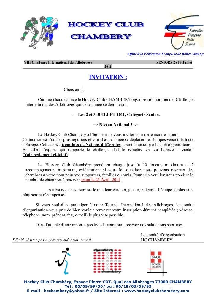 Affilié à la Fédération Française de Roller Skating      VIII Challenge International des Allobroges                      ...