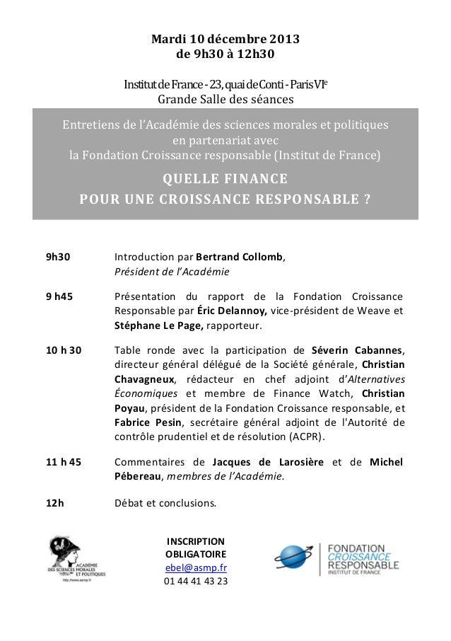 Invitation - Entretien de l'Académie - Finance et croissance responsable