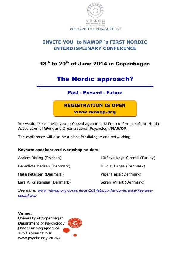 WE HAVE THE PLEASURE TO INVITE YOU to NAWOP´s FIRST NORDIC INTERDISPLINARY CONFERENCE 18th to 20th of June 2014 in Copenha...