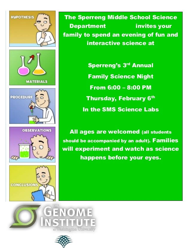 The Sperreng Middle School Science Department  invites your  family to spend an evening of fun and interactive science at ...