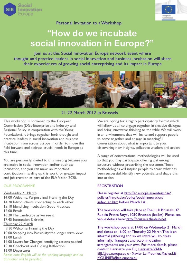"Personal Invitation to a Workshop:                      ""How do we incubate                  social innovation in Europe?""..."