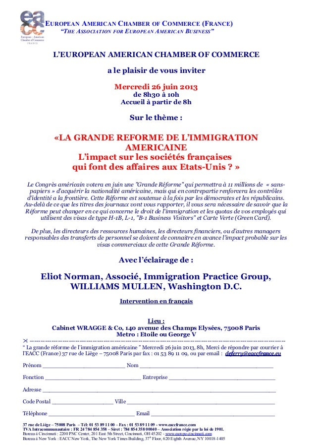 Invitation 26 juin 2013 paris la grande reforme de l'immigration americaine