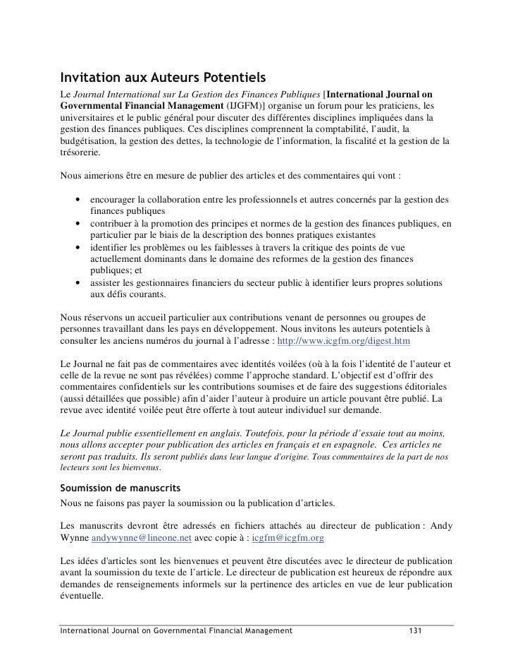 ,QYLWDWLRQ DX[ $XWHXUV 3RWHQWLHOV Le Journal International sur La Gestion des Finances Publiques [International Journal on...