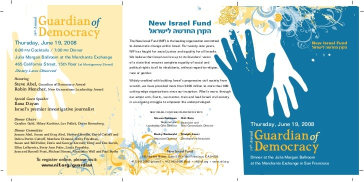 Guardian of            14th Annual   Democracy                                     The New Israel Fund (NIF) is the leadin...