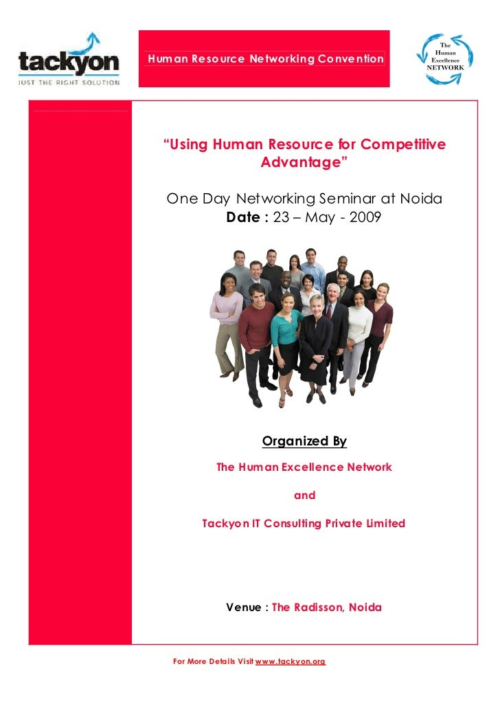 "Human Resource Networking Convention       ""Using Human Resource for Competitive               Advantage""    One Day Netwo..."
