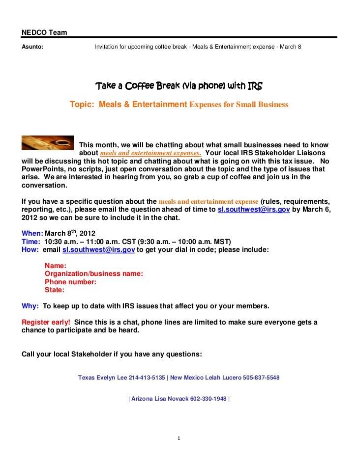 NEDCO TeamAsunto:                 Invitation for upcoming coffee break - Meals & Entertainment expense - March 8          ...