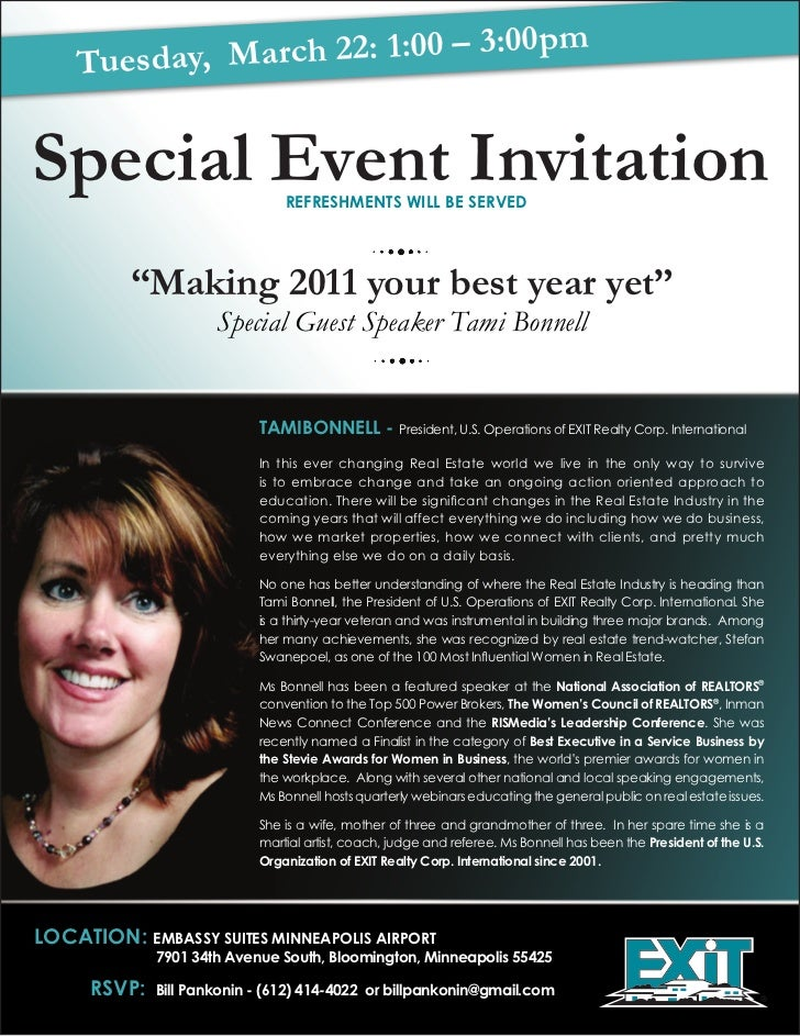 "pm    Tuesda y, March 22: 1:00 – 3:00Special Event Invitation        rEfrEshmEnts wiLL bE sErvEd          ""Making 2011 you..."