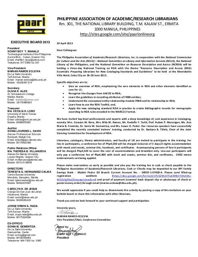 Invitation letter to RDA training in Cebu