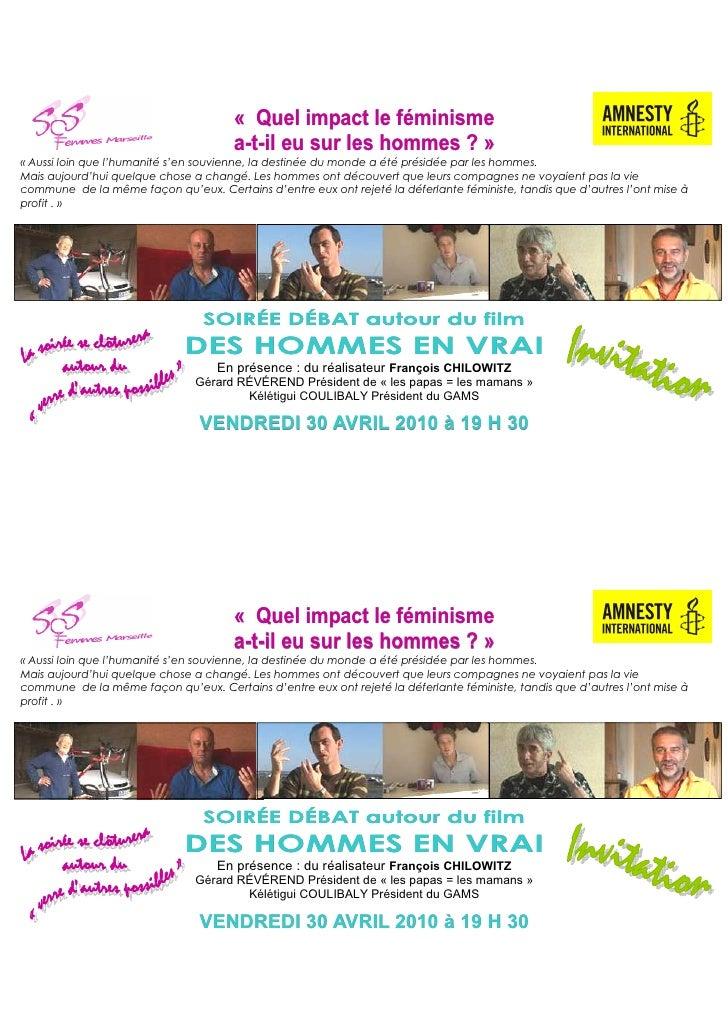 Invitation soirée débat  impact du féminisme sur les hommes