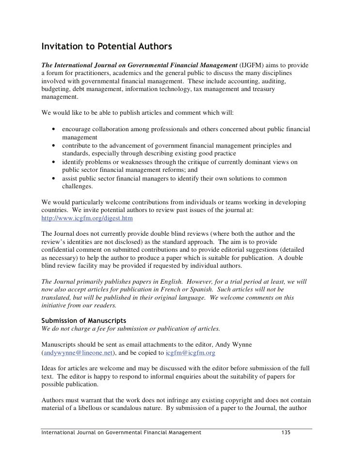,QYLWDWLRQ WR 3RWHQWLDO $XWKRUV The International Journal on Governmental Financial Management (IJGFM) aims to provide a f...