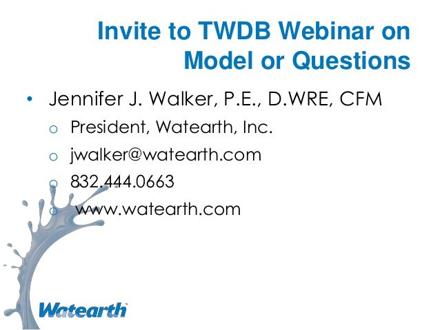 Invite to TWDB webinar on model or questions