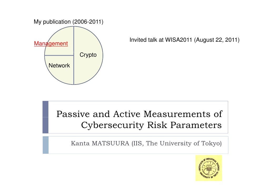 My publication (2006-2011)                                Invited talk at WISA2011 (August 22, 2011)Management            ...