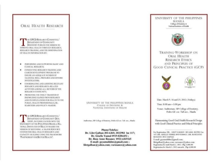 Invite & program to research in dentistry training workshop front