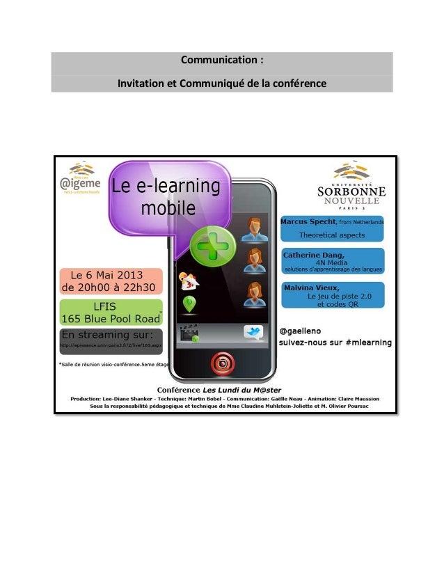Communication : Invitation et Communiqué de la conférence